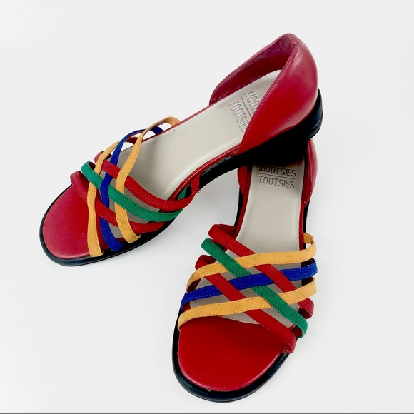 44ba6d63e3e678 VTG 80s rainbow stretchy sandals flats shoes